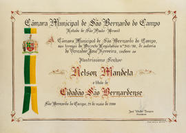 Honorary Citizenship of the City of Sao Bernardo, Brazil.